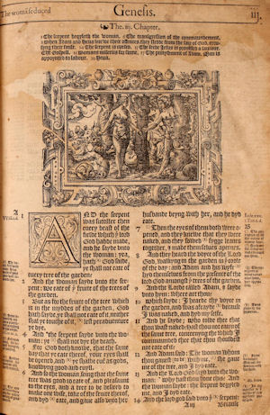 Genesis 3 from the Bishops' Bible, 1568.