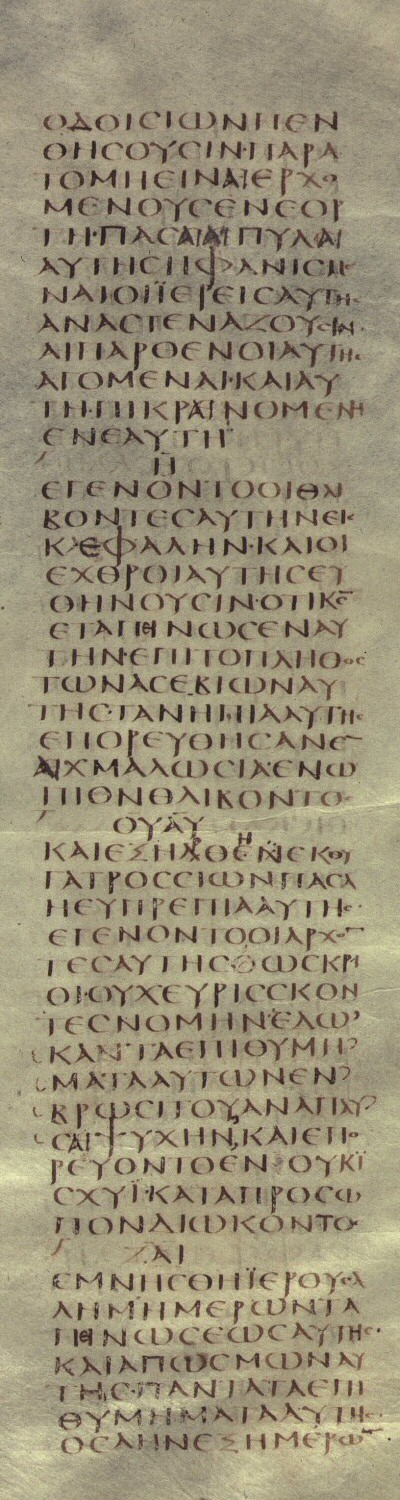 Codex Sinaiticus, Lamentations 1:4-7  Brenton's English Translation  4 DALETH. The ways of Sion mourn, because there are none that come to the feast: all her gates are ruined: her priests groan, her virgins are led captive, and she is in bitterness in herself. 5 HE. Her oppressors are become the head, and her enemies have prospered; for the Lord has afflicted her because of the multitude of her sins: her young children are gone into captivity before the face of the oppressor. 6 VAU. And all her beauty has been taken away from the daughter of Sion: her princes were as rams finding no pasture, and are gone away in weakness before the face of the pursuer. 7 ZAIN. Jerusalem remembered the days of her affliction, and her rejection; she thought on all her desirable things which were from the days [of old, when her people fell into the hands of the oppressor, and there was none to help her: when her enemies saw it they laughed at her habitation.]