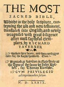 Detail from the title-page of Taverner's Bible